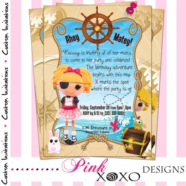 Lalaloopsy Pirate Girl Birthday Party Invitation