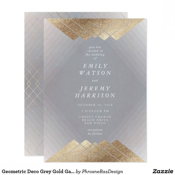 Geometric Deco Grey Gold Gatsby Wedding Invitation In 2018