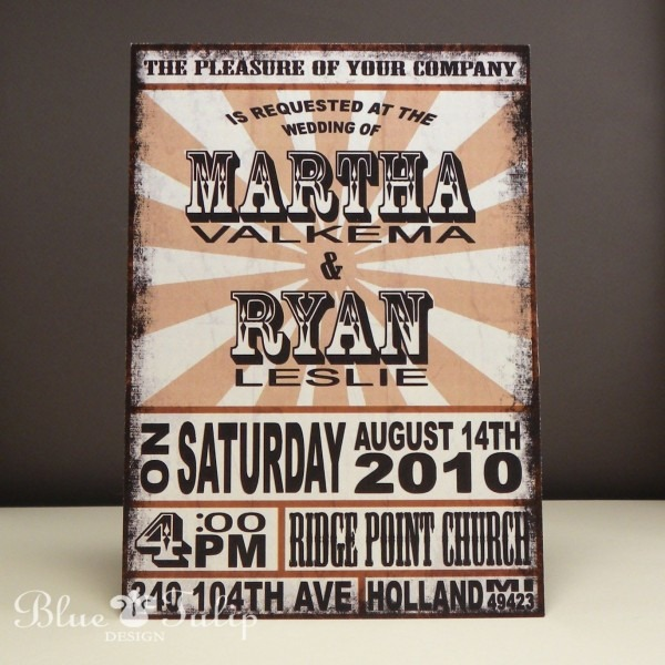 Vintage Rock Poster Wedding Invitation, Distressed Finish