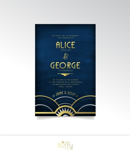 The Alice   Invitation Set   Art Deco Wedding Gold Silver Navy