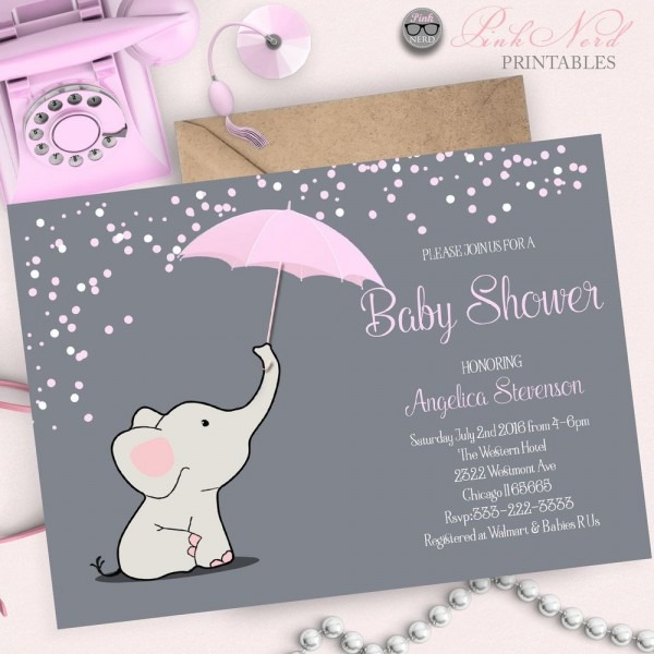 Elephant Baby Shower Invitation Elephant Holding Umbrella Baby