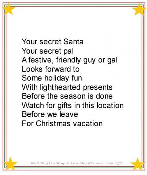 Christmas Poem For Secret Santa First Gift