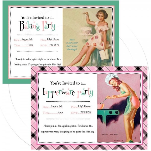 Printable Personalize Pinup Invitation Tupperware Party, Baking Or