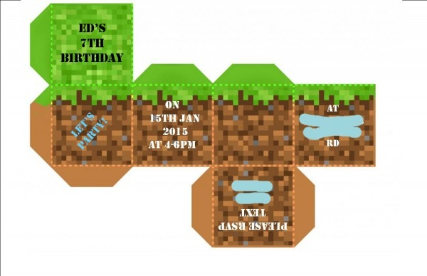 Strawberry Meets World   Tbt  Ed's Minecraft Party Invite