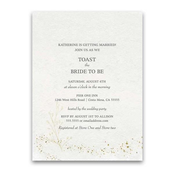 Elegant Gold Bridal Shower Invitation Sparkly Gold Accents