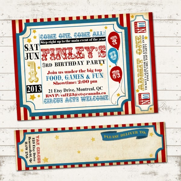 Etsy Retro Circus Party Invitation Wraparound Original Ideal Retro
