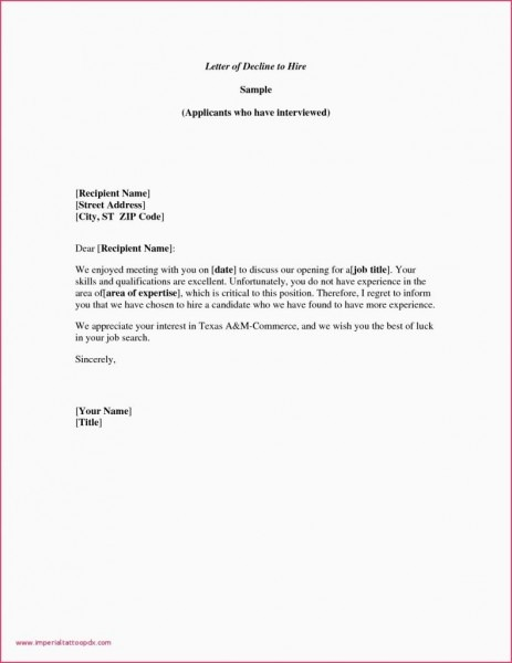 Example Letter Declining An Invitation Valid Job Appointment