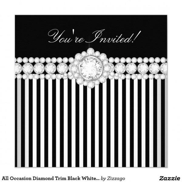 All Occasion Diamond Trim Black White Stripe Party Invitation