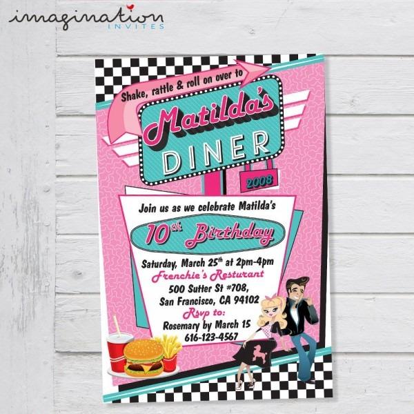 50's Diner Invitation Birthday Party Rock 'n Roll Sock Hop Retro