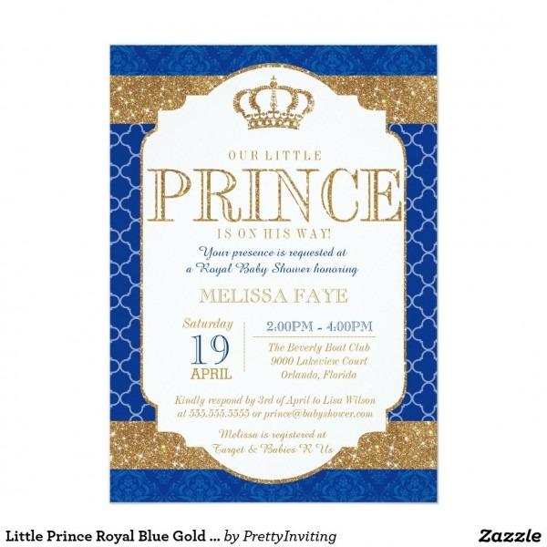 Little Prince Royal Blue Gold Baby Shower Invitation