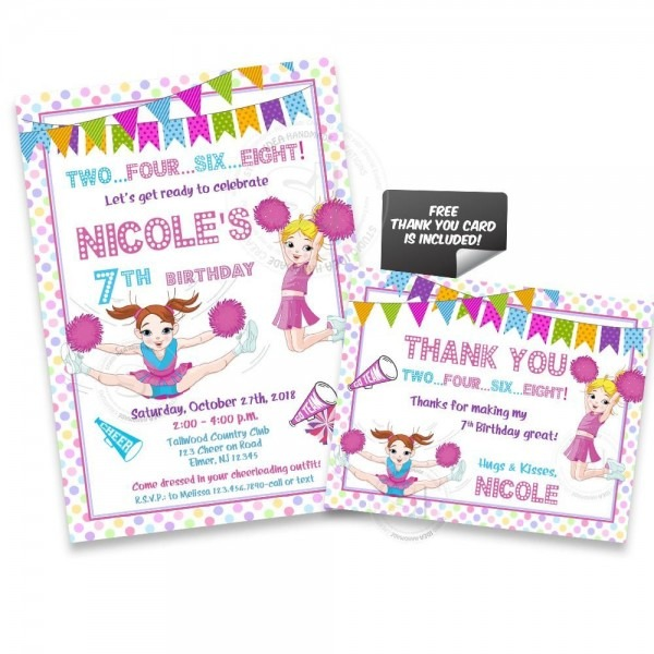 Cheerleaders Birthday Party Printable Invitation With Free Thank