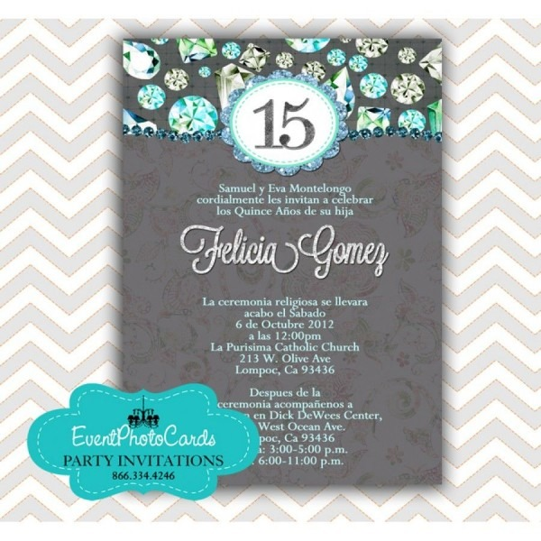 Teal Green Quinceanera Birthday Invitations