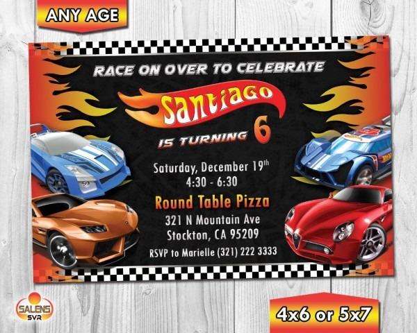 Hot Wheels Birthday Invitation   Hot Wheels Invitation   Hot