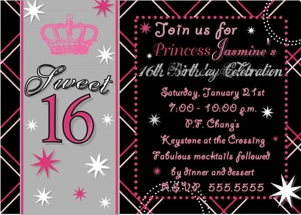 Sweet 16 Birthday Invitations Free Printable