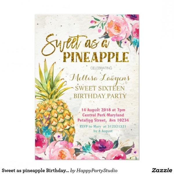 Sweet As Pineapple Birthday Invitation Sweet Sixteen Pineapple