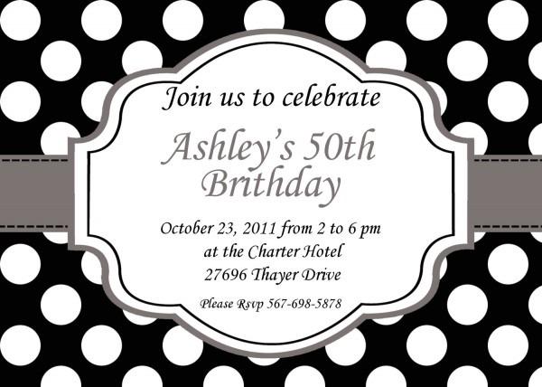 Fancy Black And White Polka Dot Birthday Invitations Elegant Black