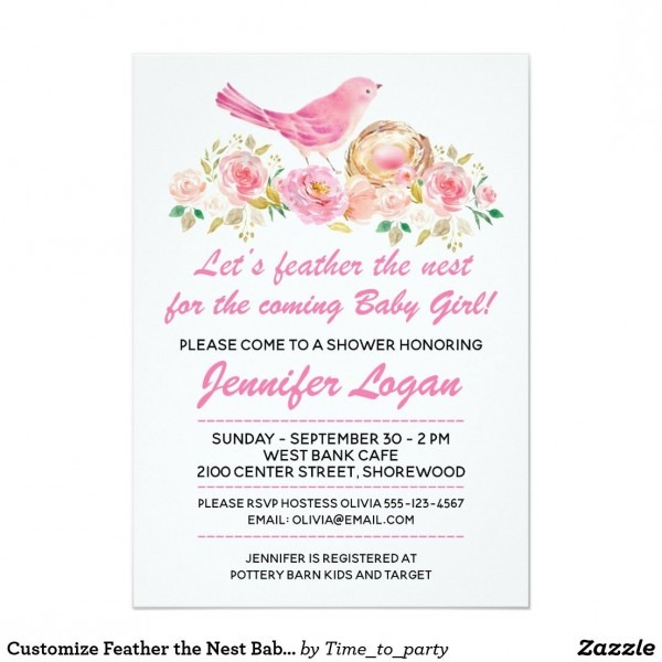 Customize Feather The Nest Baby Shower Invitation