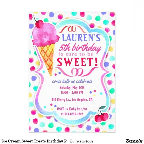 Ice Cream Sweet Treats Birthday Party Invitation