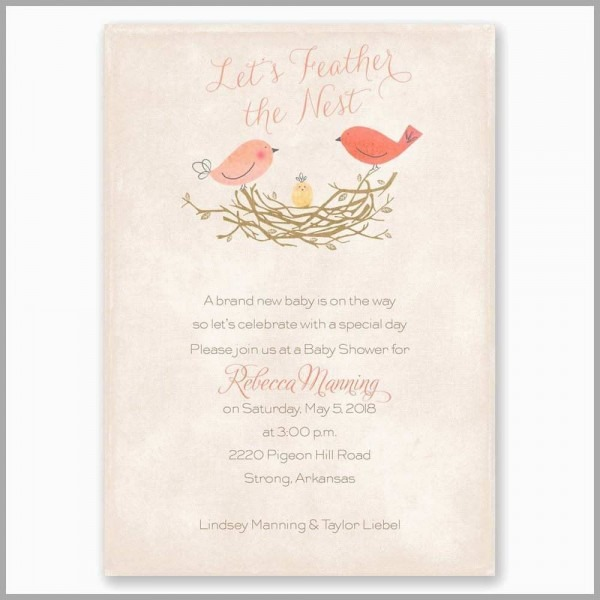 Feather Baby Shower Invitations Amazing Feather The Nest Baby