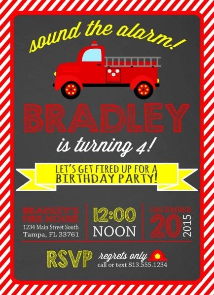 Birthday Invitation Card Fire Truck Birthday Invitations