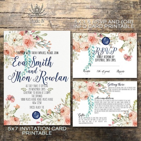 Floral Wedding Invitation, Printable Wedding Invitation Rustic