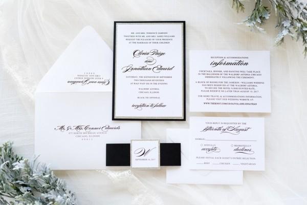 Elegant & Formal Silver Glitter, Black, And White Wedding
