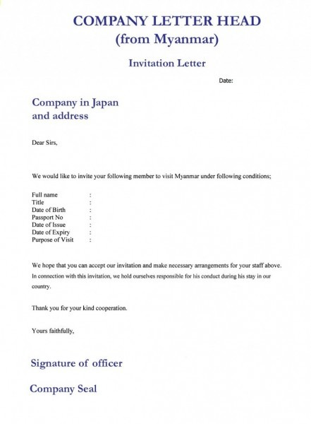 Sample Invitation Letter For Business Visa New Format Australian