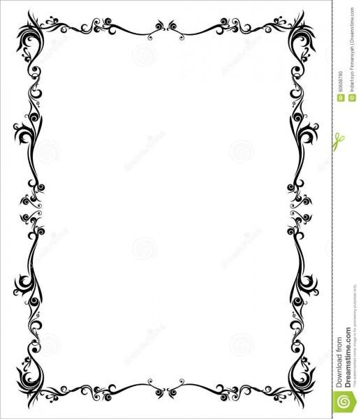 Frame Abstract Batik Yogyakarta Black Basic Stock Illustration