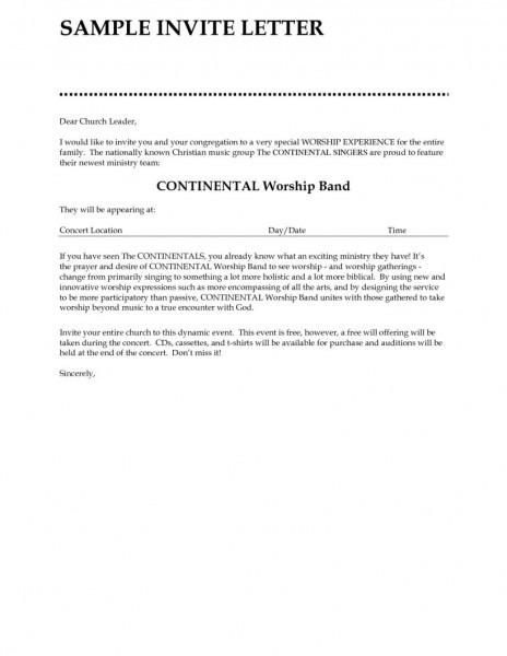 Free Church Invitation Letter Sample