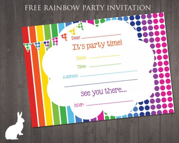 Free Party Invitation Rainbow Theme Elegant Printed Party