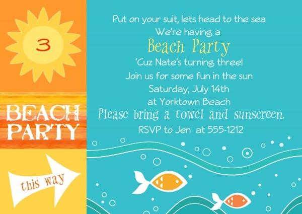 Thumb Slider Great Birthday Beach Party Invitations