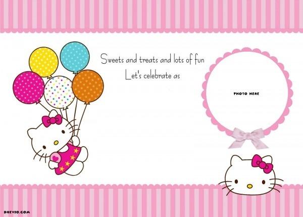 Free Printable Hello Kitty Invitation Template Balloons High