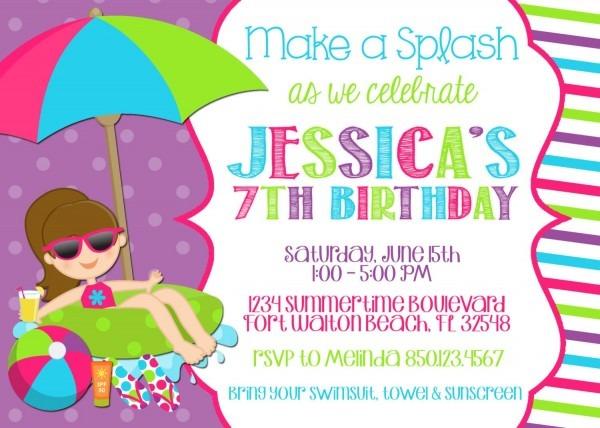 Invitation Ideas  Swim Party Birthday Invitations