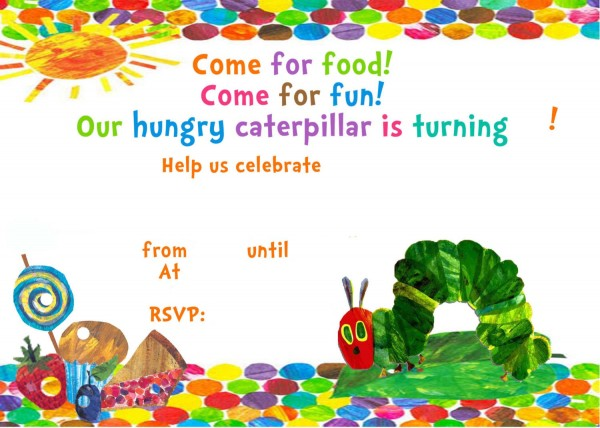 Very Hungry Caterpillar Invitation Template – Free Printable
