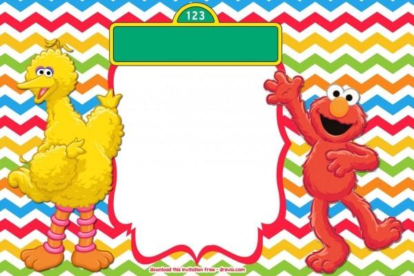 Free Sesame Street Colorful Chevron Invitation Template