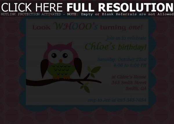 Fresh Owl Birthday Invitations With Additional Invitations