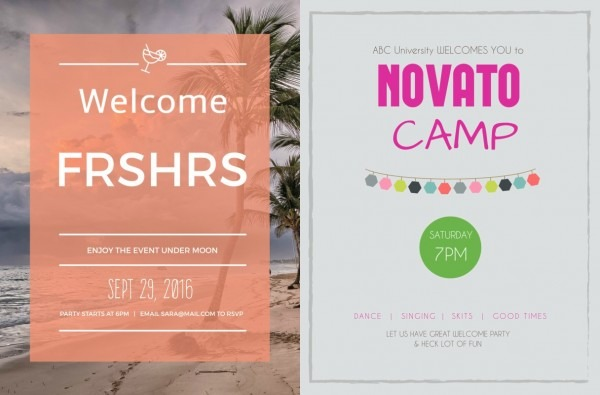 Freshers Party Sample Invitation Card Designs