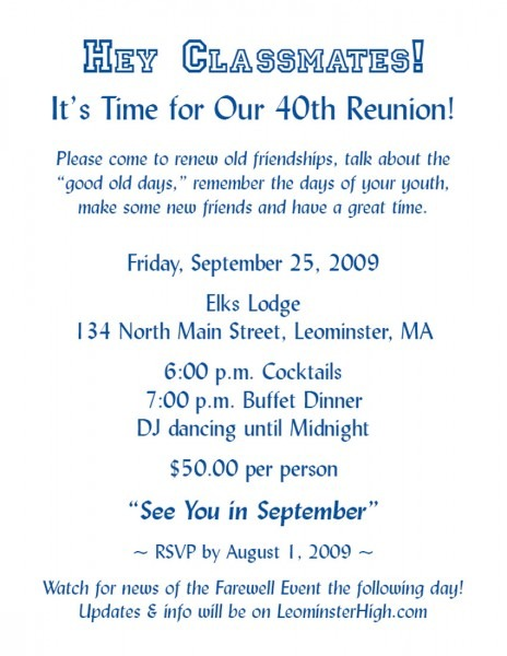 Friends Reunion Invitation Wording