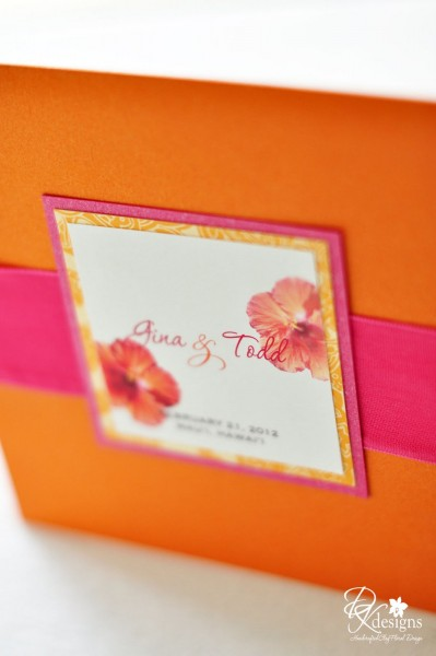 Dk Designs  Orange And Pink Tropical Wedding Invitations