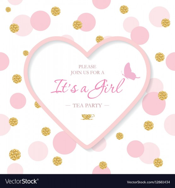 Girl Baby Shower Invitation Template Included Vector Image