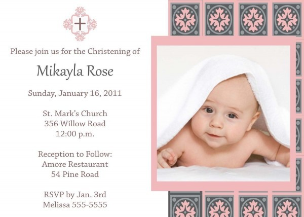 Girl Baptism Invites