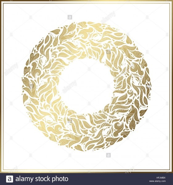Gold Round Frame  Vector Floral Decoration Made From Swirl Shapes