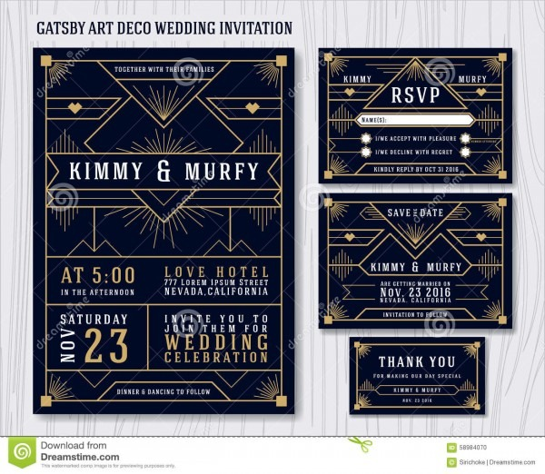 Great Gatsby Art Deco Wedding Invitation Design Template Stock