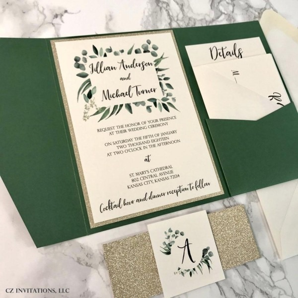 Green Wedding Invitations Envelope Invitation Template