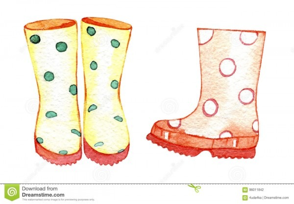 Hand Drawn Watercolor Rubber Boots  Illustration For Creating