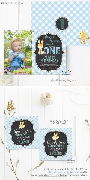 Any Age    Bunny Birthday Invitation Boy Birthday Party