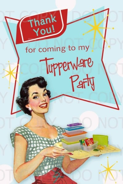 Printable Diy Retro Housewife Tupperware Party Thank You Card