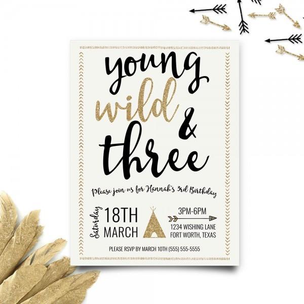 Young Wild And Three Birthday Invitation Third Birthday