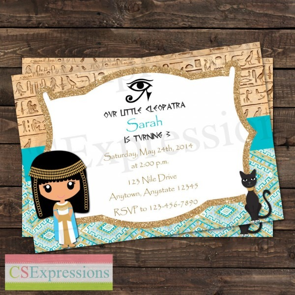 Cleopatra Egyptian Birthday Party Invitation