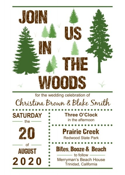 Join Us In The Woods Wedding Invitation 5x7